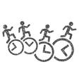 Men Running Over Clocks Grainy Texture Icon vector image