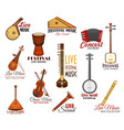 icons set for live music festival concert vector image