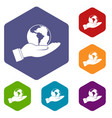 world planet in man hand icons set hexagon vector image