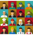 set of 16 men job icons in flat with long shadow vector image