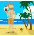 young man holding inflatable ball tropical beach vector image