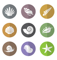 group of shellfish in the circle vector image