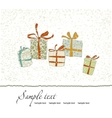 Vintage Christmas card with gift boxes vector image