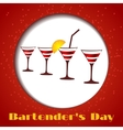 four glasses on a red background vector image
