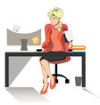 business woman or a clerk working at her office vector image