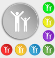 happy family icon sign Symbol on five flat buttons vector image