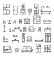 Lineart Flat Furniture Icons and Symbols Set vector image