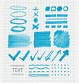 set of transparent highlighter marks blue color vector image