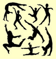 gymnastic people sport activity silhouette vector image