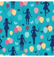 Girls holding balloons seamless pattern background vector image vector image