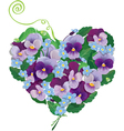 Heart shape is made of beautiful flowers - pansy vector image