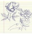 Notebook set with peonies vector image