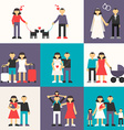 Set of Flat Design Happy Family Friendship vector image