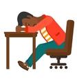 Man sleeping on table vector image