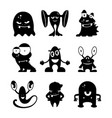 black monsters silhouettes set vector image