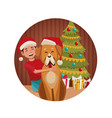 boy and dog in christmas vector image
