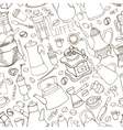 Coffee related doodle seamless patternTableware vector image