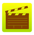 film clap board cinema sign brown icon at vector image