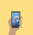 hand with music icon on mobile phone vector image