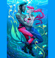 impossible mermaid with pirate under the water vector image