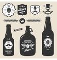 set of vintage craft beer bottles brewery badges vector image