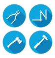 Tool icons set Axe hammer zigzag folding rule vector image