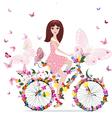 woman bike vector image