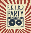 Retro party advertising flyer with old vector image