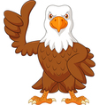 Cartoon eagle giving thumb up isolated vector image vector image