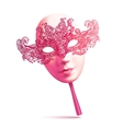 Pink lacy ornate carnival mask with handle vector image