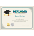 Diploma certificate template with graduation cap vector image
