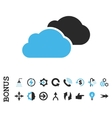 Clouds Flat Icon With Bonus vector image
