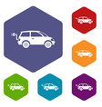 electric car icons set vector image