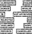 Set of rubber stamps with messages refused vector image