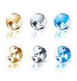 Set of silver gold and blue isolated globe vector image