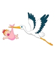 Stork with baby girl cartoon vector image