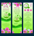 green floral banners for spring sale vector image