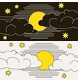 Moon clouds and stars vector image