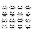 Scary Halloween pumpkin faces icons set vector image