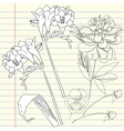 Notebook set with peony and freesia vector image