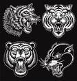 Black and White hand drawn tattoo style animal fac vector image vector image