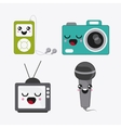 cartoon icon set Kawaii and technology vector image