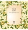card with yellow roses vector image