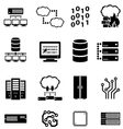 Data computer and cloud computing icons vector image