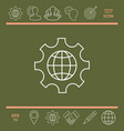 globe of the earth inside a gear or cog setting vector image