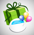 Green Paper Gift Box Colorful Balloons and Empty vector image