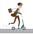 Happy businessman on scooter vector image