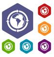 round arrows around world planet icons set hexagon vector image