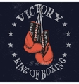 Vintage sports label with boxing gloves vector image