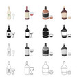 white and red grape wine strong alcohol whiskey vector image
